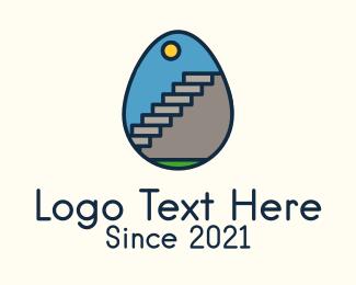 Concrete - Concrete Stairs Egg logo design