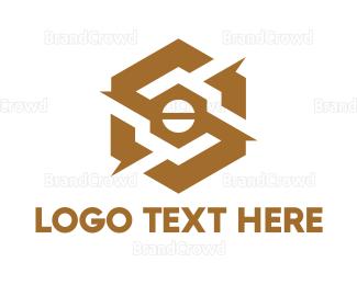 Dynamic - Gold Mechanical Hexagon logo design