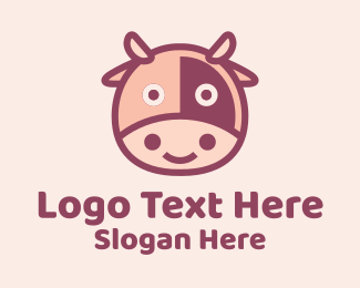 Cattle Farm - Cute Cow Head  logo design