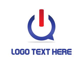On - Blue Power logo design