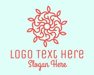 Twig - Red Flower Vine logo design