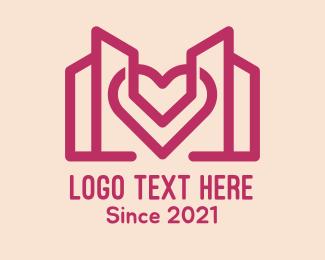 Architecture - Heart Building Structure logo design