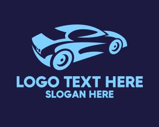 Car Racing - Blue Speed Car Racing logo design