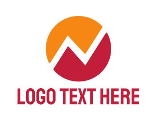 Pulse - Orange Red Round N logo design