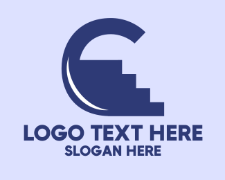 Climbing - Blue Climb Letter C logo design