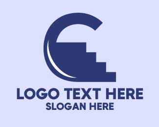 Flooring - Blue Climb Letter C logo design