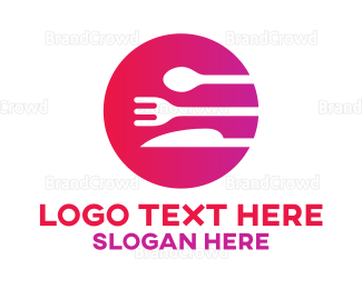 Catering - Pink Cutlery Circle logo design