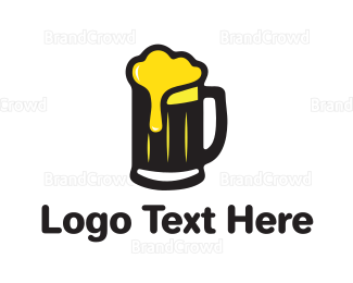 Cheers - Golden Foaming Beer Mug logo design