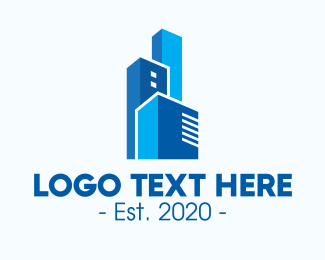 Property Builder - Blue Corporate Towers logo design