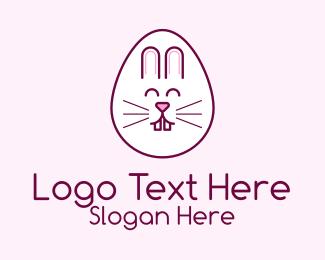 Easter Bunny - Cute Easter Bunny Egg logo design