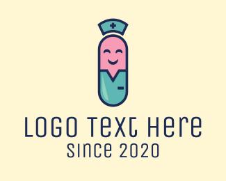 Nurse - Medical Happy Pill logo design