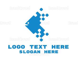 Fishbone - Blue Digital Fish logo design