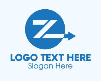 Transfer - Blue Arrow Letter Z logo design