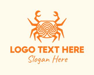 Crab - Orange Minimalist Crab logo design