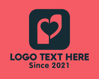 Dating Chat - Heart Tag App logo design