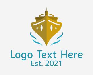 Cruise Ship - Gold Cruise Ship logo design
