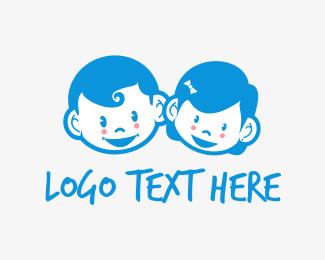 Family - Cute Kids logo design