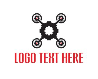 Quadcopter - Gear Drone logo design
