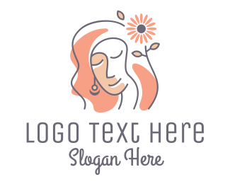Plastic Surgery - Woman Daisy Flower Hair logo design