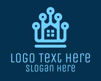 System - Digital Blue House logo design