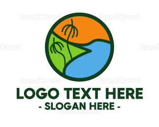 View - Island Beach logo design