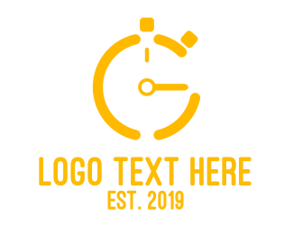 Pt - Gold Stop Watch logo design
