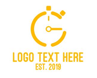 Clock - Gold Stop Watch logo design