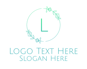 Free - Green Letter Floral Emblem logo design