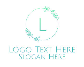 Pet Boarding - Green Letter Floral Emblem logo design