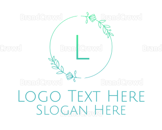 Friend - Green Letter Floral Emblem logo design
