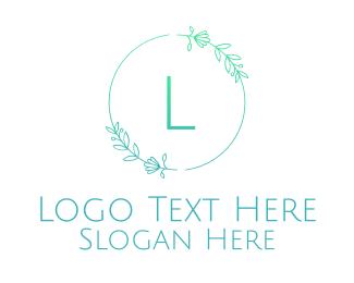 Designs - Green Letter Floral Emblem logo design