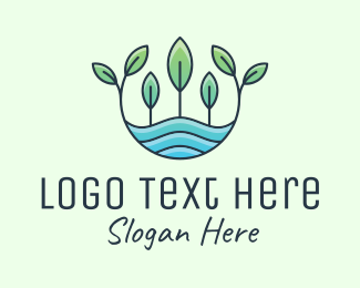 Ecosystem - Water Plant Growing logo design
