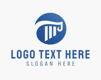 Capital - Blue Column logo design