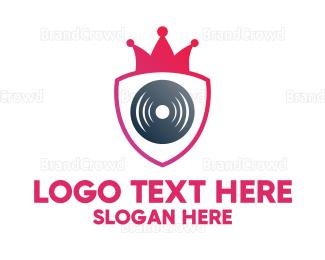 Producer - Pink Crown Shield Disc logo design