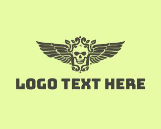 Corps - Classy Skull Wing logo design
