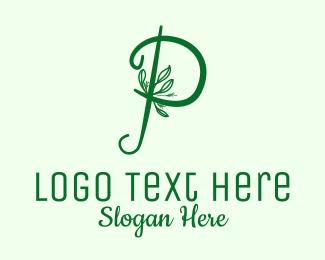 Please - Natural Elegant Letter P logo design