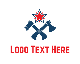 Weapon - Red Star & Axes logo design