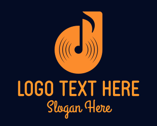 Green Note - Musical Note Record logo design