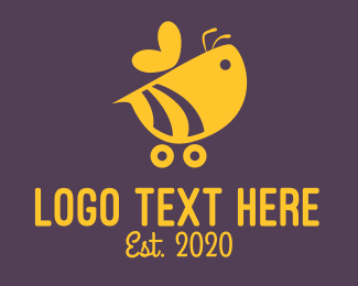 Wasp - Cute Bumble Bee Car Cart logo design