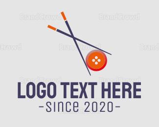 Chopstick - Chopsticks  & Button logo design