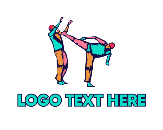 Bjj - Colorful Karate Kick logo design