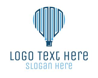 Hot Air Balloon - Blue Hot Air Balloon Tech logo design