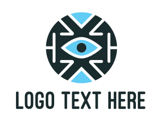 Eye - Blue Tech Eye logo design