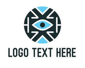 Artificial Intelligence - Blue Tech Eye logo design