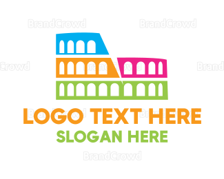 Amphitheatre - Colorful Coliseum logo design