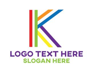 """Colorful Minimalist K"" by LogoBrainstorm"