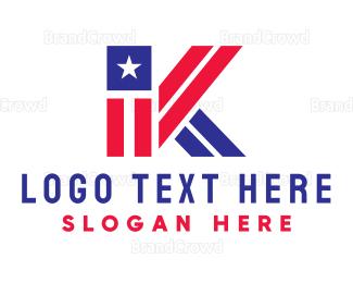 Letter K - Patriotic Letter K logo design