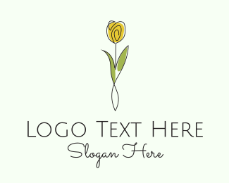 Purple Leaf - Minimalist Yellow Tulip logo design