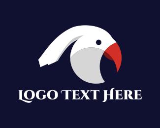 White - White Parrot logo design
