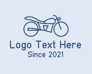 Automotive - Blue Minimalist Motorbike  logo design